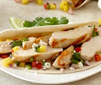 Grilled Chicken Tacos and Spicy Mango Salsa