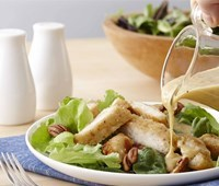 Fried Chicken Breast Salad with Vidalia Onion Pecan Dressing