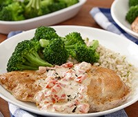 Skillet Chicken with Roasted Red Pepper Cream Sauce