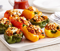 Greek Stuffed Peppers with Spinach and Artichoke