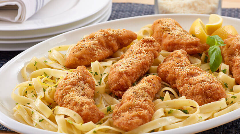 Lemon Parm Chicken Strips with Herb-buttered Fettuccine