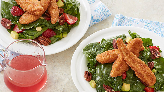 Whole Grain Tenders Spinach Salad with Strawberries and Pecans