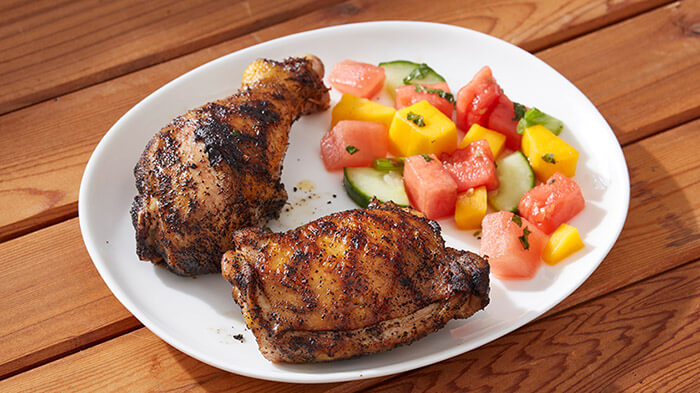 Grilled Espresso Adobo Chicken with Mango Melon Salad