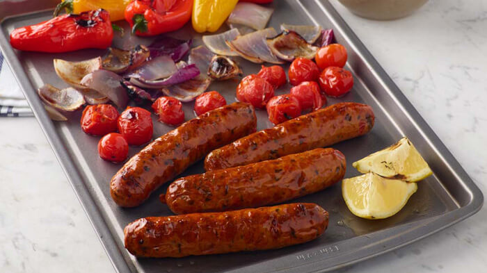 Sheet Tray Italian Sausage with Peppers, Onions and Cherry Tomatoes