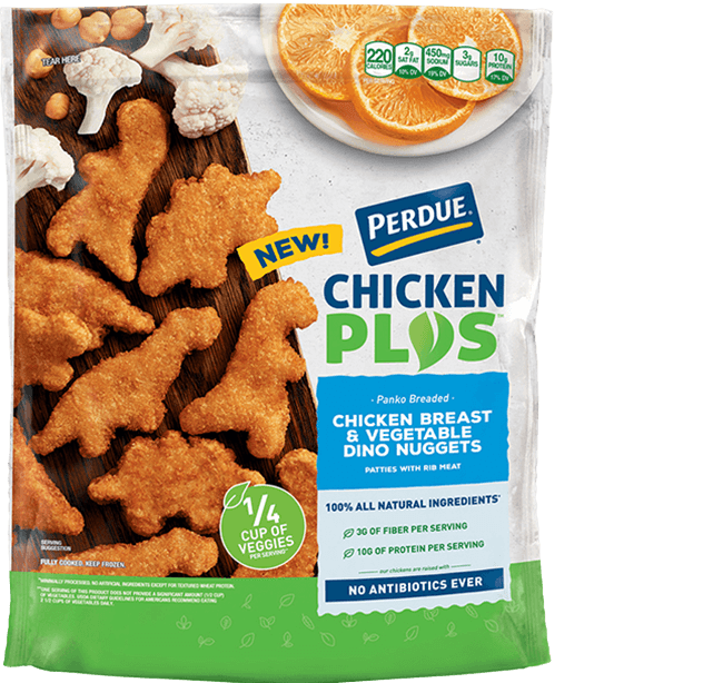PERDUE® CHICKEN PLUS<sup>TM</sup> Chicken Breast & Vegetable Dino Nuggets