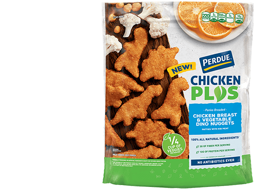 PERDUE® CHICKEN PLUS<sup>TM </sup> Chicken Breast & Vegetable Dino Nuggets