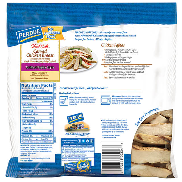 SHORT CUTS® Carved Chicken Breast, Grilled Fajita Style (9 oz.)
