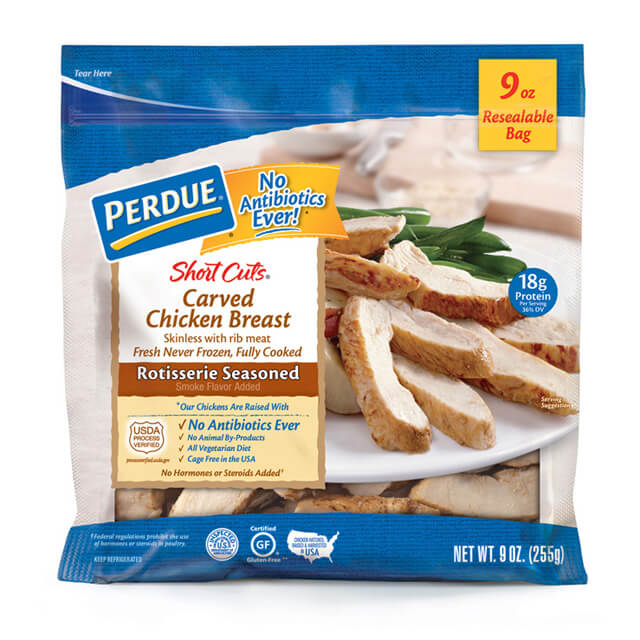 PERDUE® SHORT CUTS®  Carved Chicken Breast, Rotisserie Seasoned, (9 oz.)