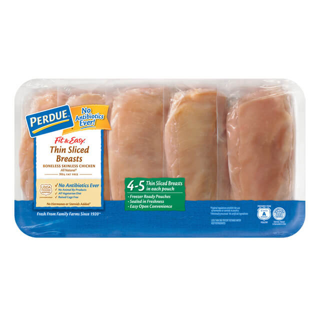 PERDUE® FIT & EASY® Boneless Skinless Thin Sliced Breasts, for Clubs