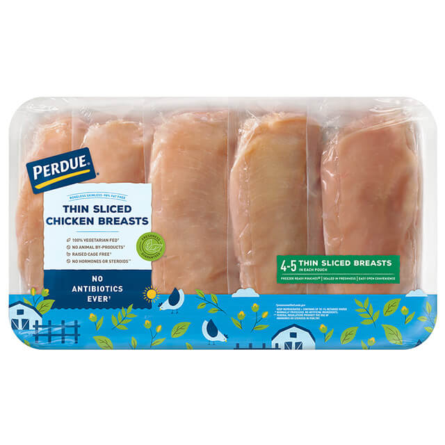 Fresh Boneless Skinless Thin Sliced Chicken Breasts, Freezer Ready Pouches®, Club Pack