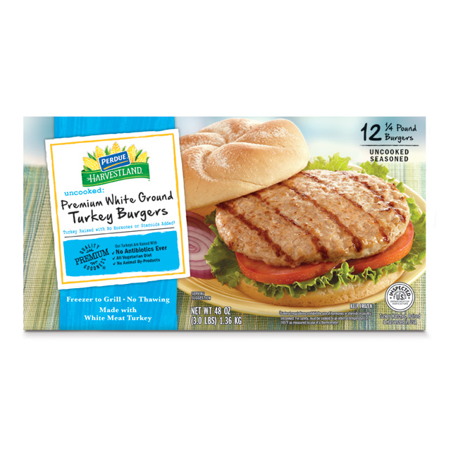 PERDUE® HARVESTLAND® Premium White Turkey Burgers, 3 lb. box