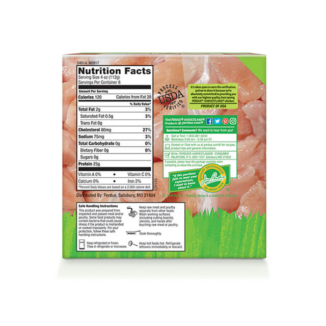 PERDUE® HARVESTLAND® Diced Chicken Breasts, Individually Wrapped Pouches (2 lbs.)