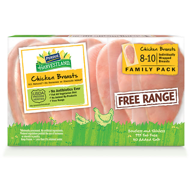 PERDUE® HARVESTLAND® Free Range Frozen Boneless Skinless Chicken Breasts, Individually Wrapped (3 lbs.)