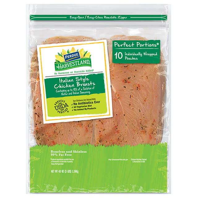 PERDUE® HARVESTLAND® PERFECT PORTIONS® Boneless, Skinless Chicken Breast, Individually Wrapped, Italian Style Flavor, 3.00 lbs.