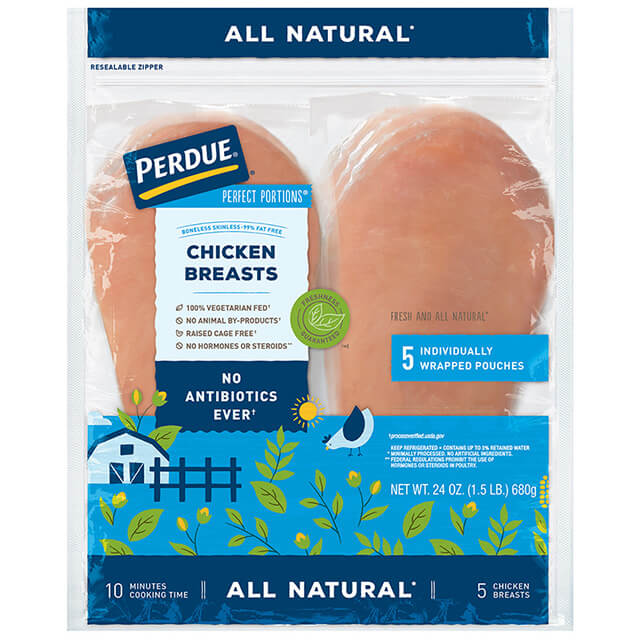 PERDUE® PERFECT PORTIONS® Boneless, Skinless Chicken Breast, All Natural (1.5 lbs.)