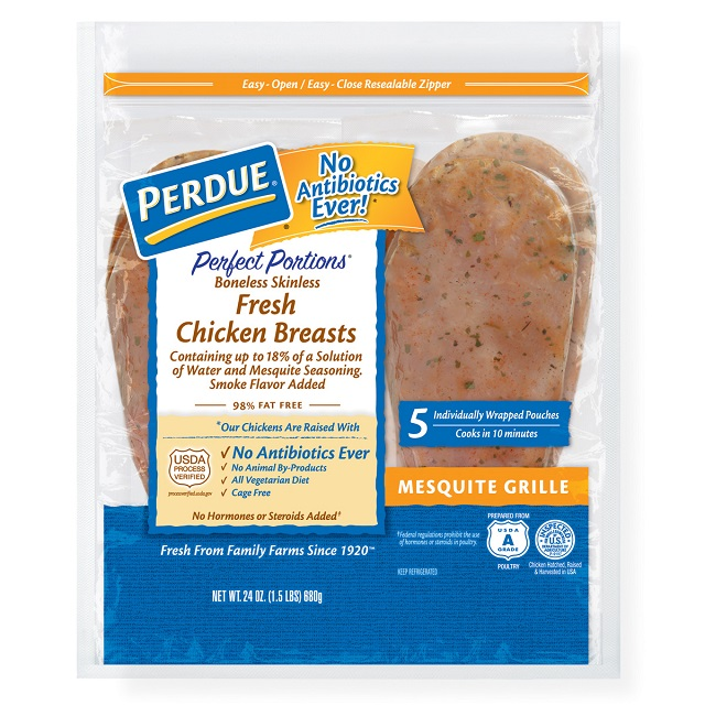 PERDUE® PERFECT PORTIONS® Boneless, Skinless Chicken Breasts, Mesquite Grille Flavor (1.5 lbs.)