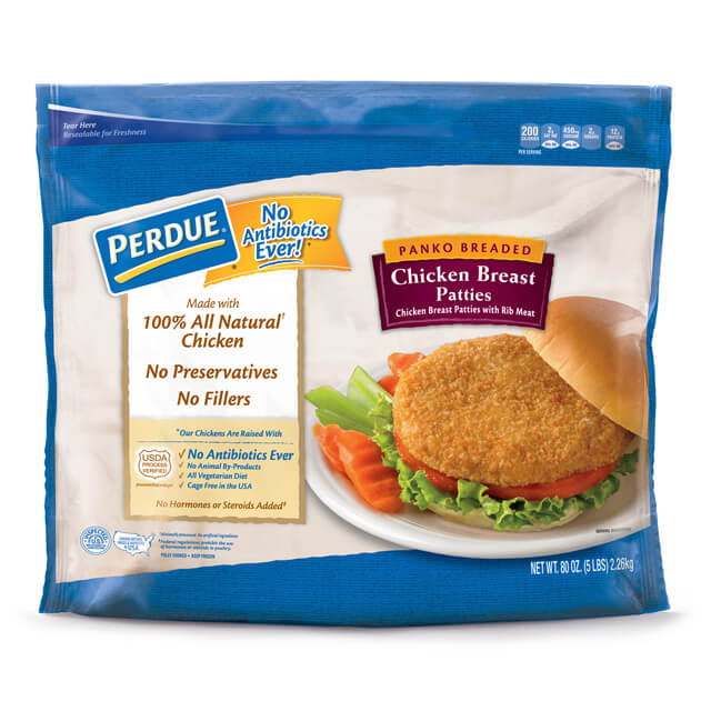 PERDUE® Fully Cooked Panko Breaded Chicken Breast Patties (5lbs)
