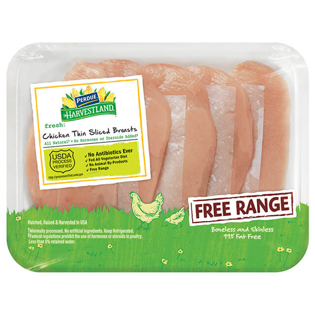 PERDUE® HARVESTLAND® Free Range Boneless Skinless Chicken Breasts, Thin Sliced