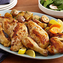 Pan Roasted Citrus Fennel Brined Chicken
