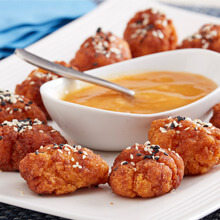 5 Spice Sesame Popcorn Chicken with the Apricot Dipping Sauce