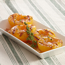 Grilled Peaches with Honey, Thyme and Shallots
