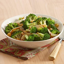 Caramelized Onion, Garlic, and Broccoli Saute with Golden Raisins