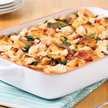 Brunch Bake with Artichokes, Chicken and Roasted Red Peppers