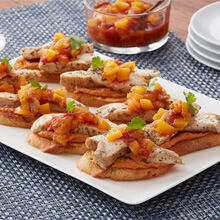 Peach Salsa Chicken Bruschetta Appetizers