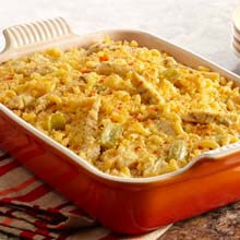 Buffalo and Blue Cheese Chicken Casserole