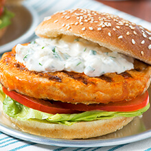 Buffalo Turkey Burgers with Blue Cheese Dressing