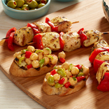 Chicken Pinchos with Chickpea-Fennel Crostini