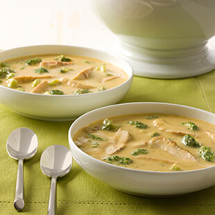 Lightened Up Chicken Cheddar Broccoli Soup
