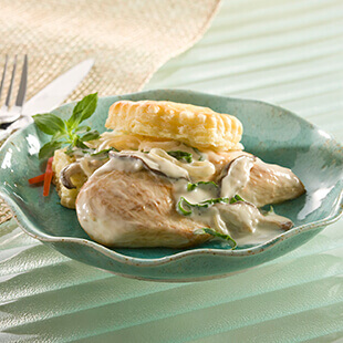 Chicken Martinique Over Puff Pastry