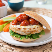 Chicken Burgers with Roasted Tomato Jam and Aioli