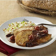 Sautéed Chicken Cutlets with Cherry Port Sauce