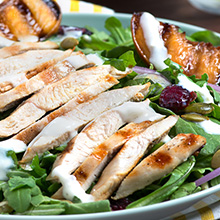 Chicken and Grilled Peach Arugula Salad