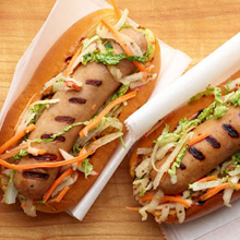 Grilled Chicken Apple Sausage with Mustard Apple Slaw