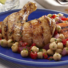 Grilled Citrus Chicken with Grilled Sweet Potatoes, Onions and Chickpeas