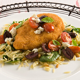 Crispy Chicken with Orzo, Tomatoes, Basil and Feta