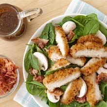 Spinach Salad With Onion-Herb Chicken & Mushrooms