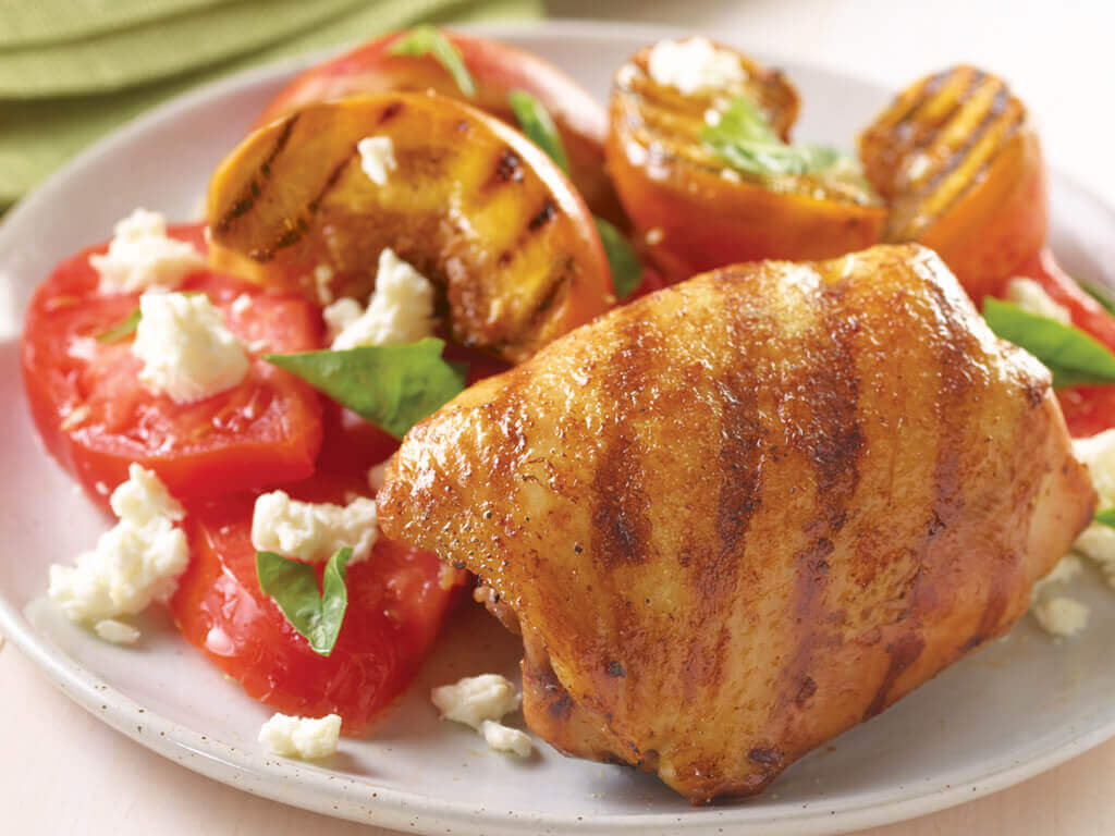 Adobo Chicken With Peach And Tomato Salad Perdue 174