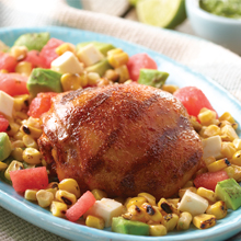 Chicken With Grilled Corn, Avocado and Watermelon