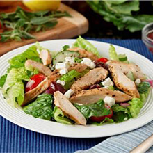 Greek Tomato and Feta Salad with Chicken and Lemon-Oregano Vinaigrette