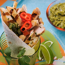 Grilled Chicken Burritos with Tomatillo Salsa