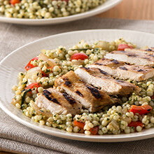 Pesto Couscous Salad with Grilled Chicken and Vegetables