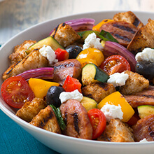 Grilled Panzanella Salad with Kielbasa