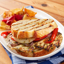 Grilled Vegetable and Pesto Chicken Panini