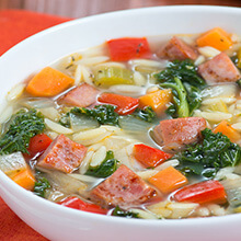 Kielbasa, Orzo and Kale Soup