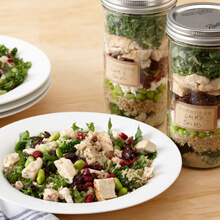High-Protein Chicken, Kale and Lemon Tahini Salad in a Jar