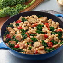 Skillet Chicken Kale and Feta Sausage with White Beans and Tomatoes